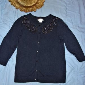 navy blue embellished  sweater womans dress casual